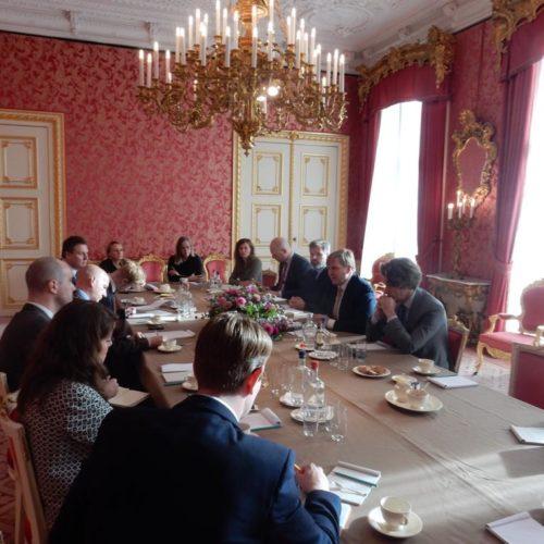Shaun Lowthorpe part of a group of journalists meeting Dutch King Willem-Alexander